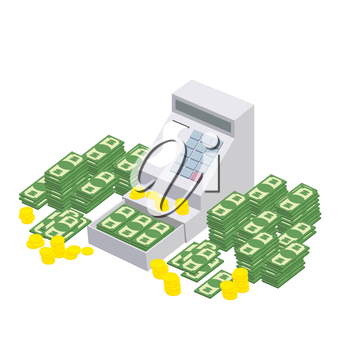 Open Cash Register Machine with a lot of money. Seller box to store proceeds at  store. Vector illustration
