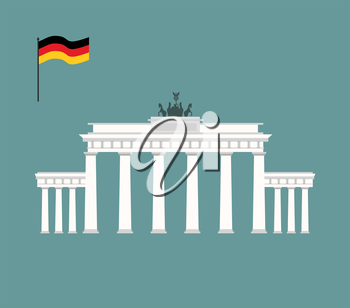 Brandenburg Gate in Berlin. landmark of Germany. Architecture attraction of  country. Vector illustration
