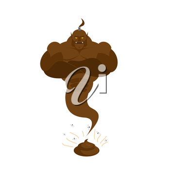 Genie from  shit. Brown Magic ghost from crap. Vector illustration
