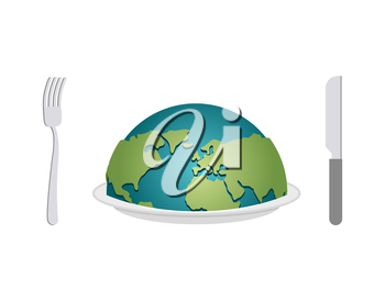 Earth on plate. Planet food. Cutlery: fork and knife. Globe awards dinner.