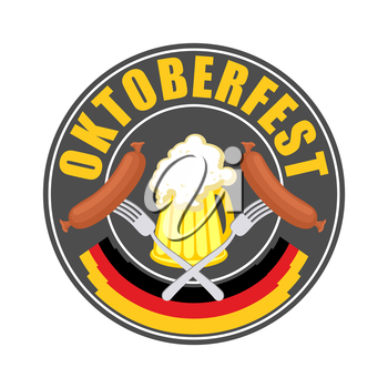 Oktoberfest logo - Traditional annual  Beer Festival in Germany. Mug of beer and sausage with fork in circle. Vector illustration for a holiday