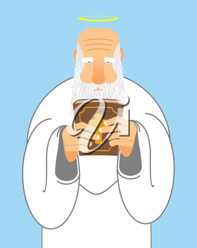 God and Bible. Old man with beard holds  Holy Bible. New Testament and good Grandpa with Halo. Religious Christian illustration.