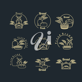 Bakery logo set. Pastry logo. Bread and baguette. Mill and bag with flour. Wheat, rye spikes. Pancakes and dough. Collection of emblems for pastry shop