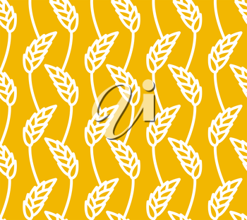 Wheat seamless pattern. Yellow spikelets ornament. Rye texture. Agro economic culture texture