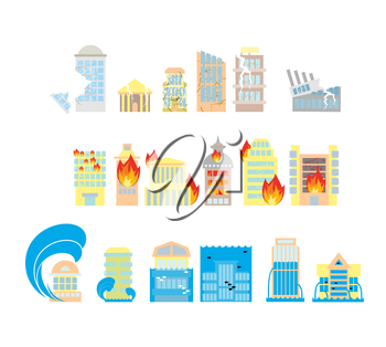 Disaster icon collection. Destruction of buildings set of icons. Earthquake Fault skyscrapers. Fire in business center. Flooding of plant houses, flats. Flooding and tsunamis. Demolition of urban stru