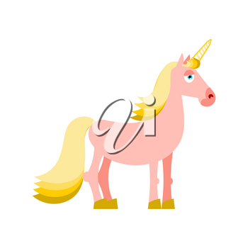 Pink unicorn with yellow mane. Fantastic animal on white background. Fabulous beast isolated. Mythical creature with horn