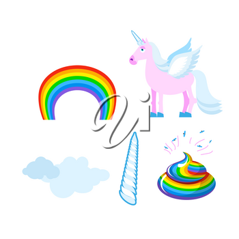 Fantastic set of unicorn. Pink fabulous beast with wings. Blue mane. Unicorn Horn. Rainbow and clouds. Rosaceae shit, turd mythical creature