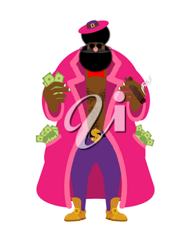 Pimp and money. Cool man. bully gigolo. dishonest guy. Pocket full of cash. bizarre Bright clothing and cigar. Gold dollar chain jewelry necklace