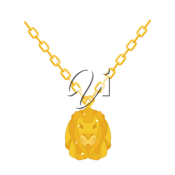 Golden lion necklace gold jewelry on chain. Expensive jewelry. Wild animal of precious yellow metal. Fashionable Luxury treasure