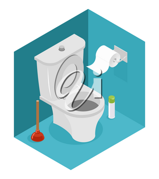 Toilet isometrics. White toilet and plunger. Roll of toilet paper and air freshener. Interior of restroom.