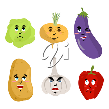 Set of vegetables with emotions. Cheesy Potatoes. Angry garlic. Surprised red pepper. Sad cabbage. Sleepy turnips. Collection of fruits with faces emoticons on white background