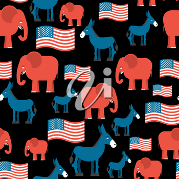 Elephant and Donkey seamless pattern. Symbols of Democrats and Republicans. Texture for election and debate in America. Democrat donkey and Republican elephant and American flag. Political background.