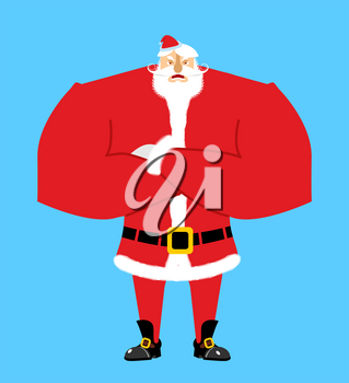 Santa angry. Aggressive Santa Claus. Christmas Grandfather with beard and mustache isolated. New Year granddad