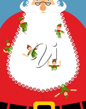 Elves in Santa beard. Large white beard and an elf. Little cheerful Claus assistant. Christmas and New Year poster