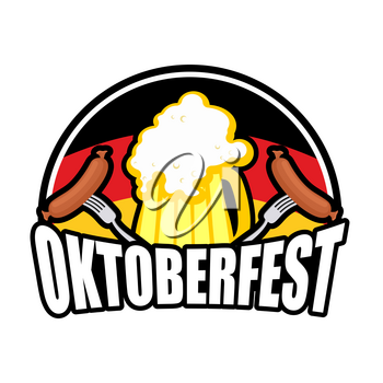 Oktoberfest Sausage and beer logo. Emblem for German holiday. german flag