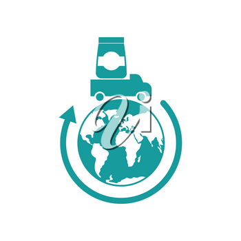 Logistics Icon. Delivery sign. truck carries goods earth