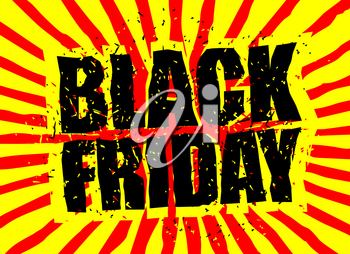 Black Friday design template in grunge style. Emblem poster night for sales and discounts in store. Traditional Christmas season sales