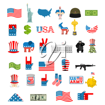 American icon set. National sign of America. USA flag and Statue of Liberty. White House and dollar. Map of United States. Uncle Sam and moon. Elephant and donkey. Eagle and baribal bearl. traditional