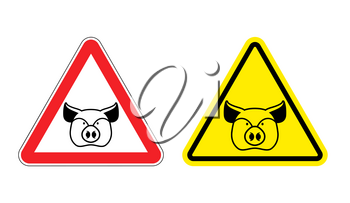 Warning sign pork attention. Dangers yellow sign pig. Farm animal on red triangle. Set of road signs against ham. Attention bacon