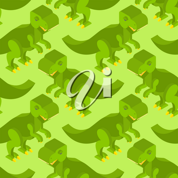 Tyrannosaurus isometric texture. Dinosaur seamless pattern. Prehistoric monster with teeth. Ancient reptile of Jurassic period. T-rex predator animal background. Ornament for baby fabric