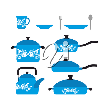 Set of dishes for cooking. Cookware: cup and saucer. Frying pan and saucepan. Knife and fork. Set blue retro dishes with flower.