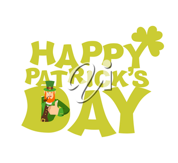 Happy St.Patrick 's Day emblem lettering. Leprechaun winks. Dwarf with red beard thumbs up. Irish elf emotions. Holiday in Ireland