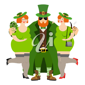 Happy St.Patrick 's Day. Leprechaun and beautiful girls. Kiss me I'm Irish. tough guy with red beard. Cool Irish pipe and clover. Holiday in Ireland