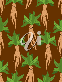 Mandrake root seamless pattern. Legendary mystical plant in form of human texture