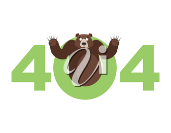 Error 404. Bear surprise. Page not found template for web site. Grizzly does not know and is surprised. Page lost and found message. problem disconnect