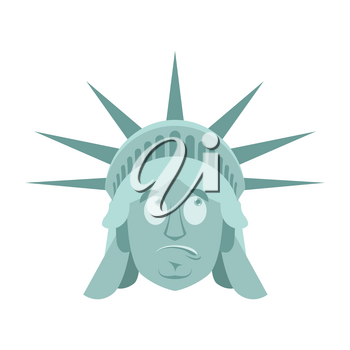 Statue of Liberty Surprised Emoji. US landmark statue face guilty emotion isolated