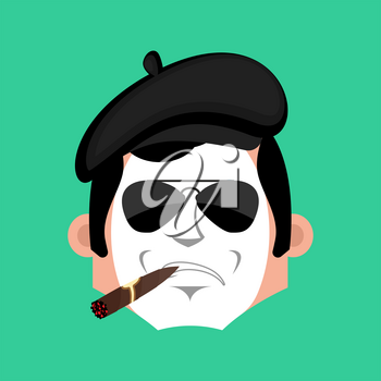 Mime Serious emotion face avatar. pantomime with cigar emoji. mimic icon. Vector illustration