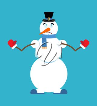 Snowman oops. New Year and Christmas vector illustration