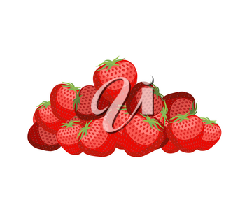 Bunch of strawberries. lot of juicy red berry. Vector illustration