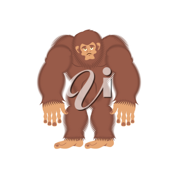 Bigfoot sad. Yeti sorrowful. Abominable snowman depression. Vector illustration