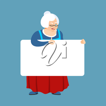 Grandmother holding banner blank. grandma and white blank. Old lady thumb up and winks joyful emotion. place for text. Vector illustration
