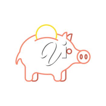 Pig piggy bank and coin linear style. Financial illustration. Accumulation of money. Vector illustration