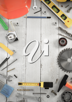 set of tools and instruments on wooden background