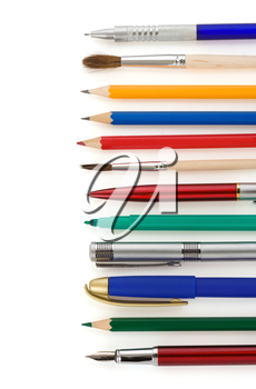 pens and pencils isolated on white background