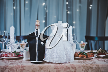 The decorated table for the newly-married couple.