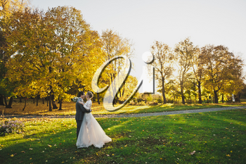 Evening photo of the newlyweds on the background of endless fields.