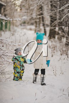 Portrait of young children on the background of snowy winter forest.
