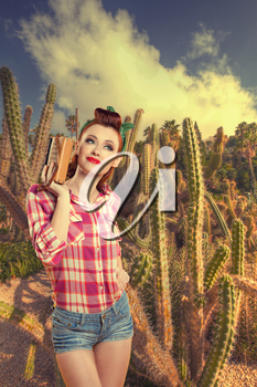 pin-up girl in cacti. retro style. cacti growing in a picturesque park near the sea