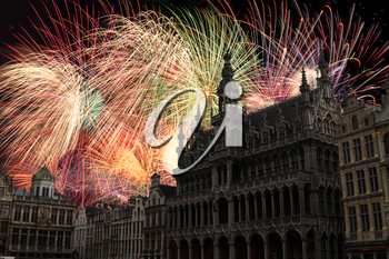 festive fireworks at night in Brussels. Belgium.