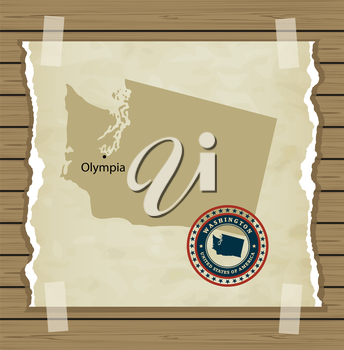 Washington map with stamp vintage vector background