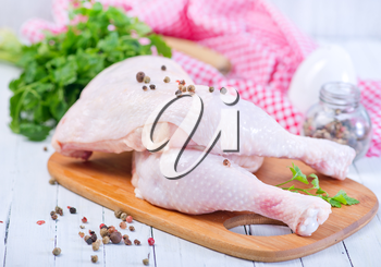 raw chicken legs with pepper and salt