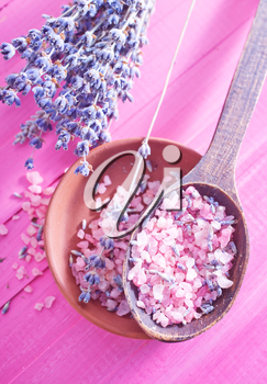 sea salt in the bowl and lavender flowers