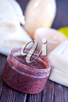 spa objects, soap and aroma salt on a table