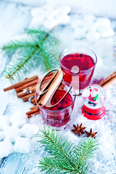 christmas drink with spice on a table