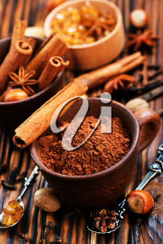 cocoa powder and aroma spice on a table