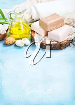 spa objects on a table, soap and salt